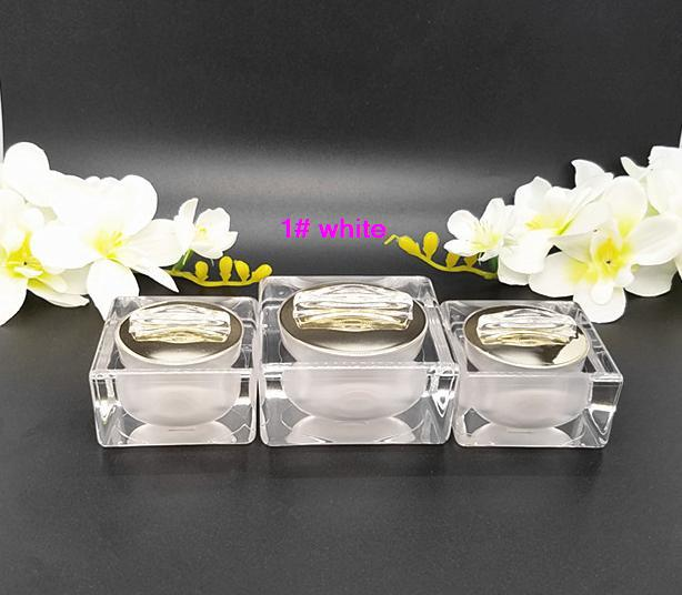 free shipping 15g 10pcs / lot High-end square white/golden acrylic cosmetics packing bottle,suit bottle,Cream box / bottle<br><br>Aliexpress
