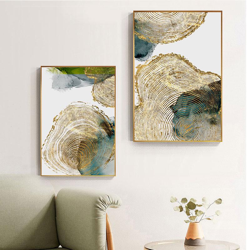 40X160Cm Rahmenlos FANGYUAN Abstrakte gr/ün leuchtende Gold Leinwand Malerei Golden Pigment Poster Moderne Wandkunst Bilder f/ür Wohnzimmer Blaupause Dekoration