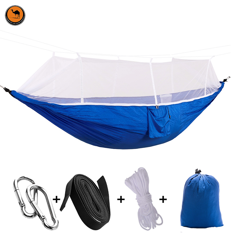 High Strength Camping Hammock with Mosquito Net Navy Blue 200kg Load Capacity,(275 x 140 cm)<br>