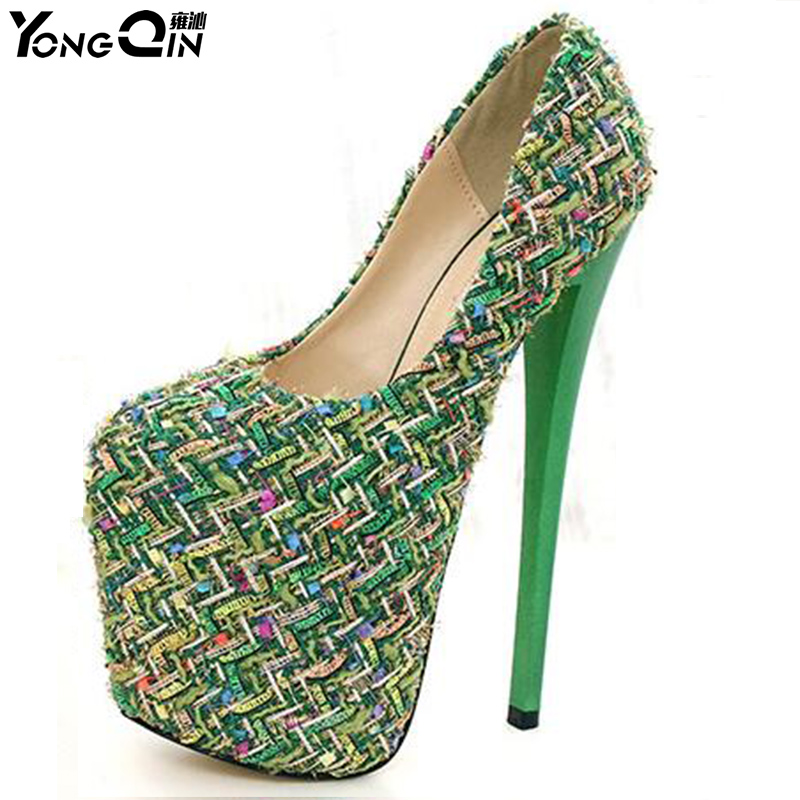 Women Round Toe Height Platform Extreme High Heels Shoes 20CM Snake Sexy Pumps Shoes 3 colors Size 34-43<br>