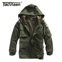 TACVASEN Men Winter Military Jacket US Army AIR FORCE Thermal Trench Hood Fleece Lining Coat BJQS-001 - Official Store store