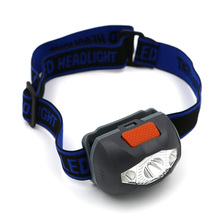 LED Mini Headlight Headlamp 3LEDs 4 Mode White light /Red light /SOS Mode Outdoor Cycling Safety Mini Head Lamp Flashlight AAA