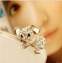 100pcs/lot Cute Koala Design Fashion Style 3.5mm Ear Cap Dust Plug Earphone Plug For Iphone For Samsung And All Mobile Phone(China)