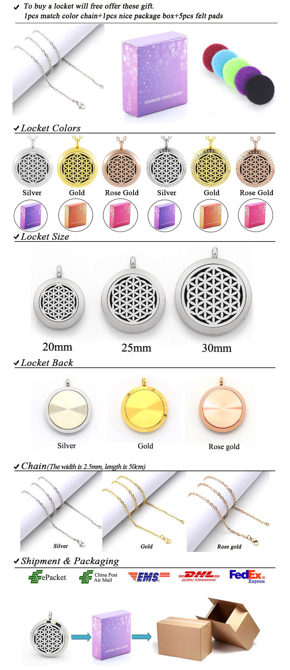 flower of life diffuser necklace silver gold rose gold 20mm 25mm 30mm locket jewelry -118