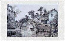 Готовая вышивка чистого шелка одна сторона китайский Стиль без Рамки украшения дома картины Jiangnan воды мост в чжоучжуан(China)