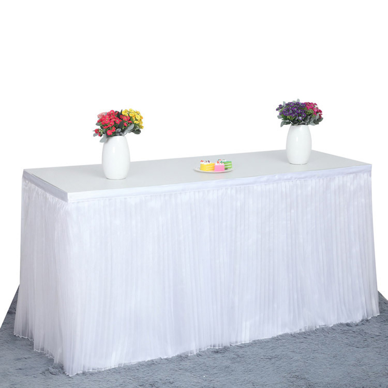 table skirts. luxury table skirt for wedding decoration skirting with velcro 3 colors pleated tulle skirts