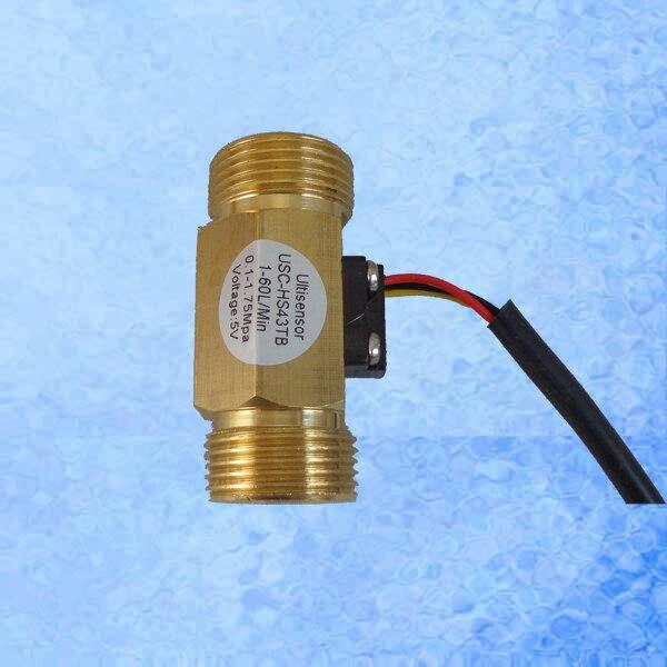 USC-HS43TB Hall Effect Water Flow Sensor 2-L/min G3/4 Threaded Ends Repeat Error 1% Brass Turbine Flowmeter for Purifier<br><br>Aliexpress