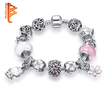 BELAWANG Lovely Cute Hello Kitty Charm Bracelet for Women Girls Pink Murano Glass Crystal Beads Bracelets & Bangles DIY Jewelry