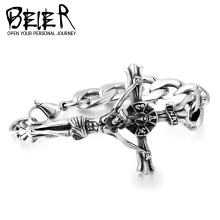 Beier Europe And United States Popular Jesus Cross Bracelet Jesus Cross Punk Titanium Men Thomas Style Gift BC8-042