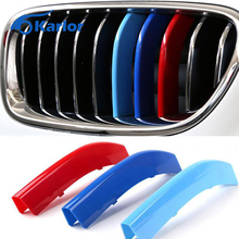 For BMW 3 4 5 X3 X4 X5 X6 F10 F18 F30 F35 3 Colors ABS 3D M Car Styling Front Grille Trim Strips Cover Motorsport Stickers