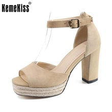 KemeKiss Office Lady Genuine Leather High Heel Sandals Platform Summer Shoe Sexy Club Party Sandal Female Footwear Size 34-39