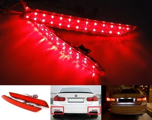 Red Lens LED Bumper Reflector Tail Brake Stop Light 2012 13 14 BMW 3-series F30 F31 F35 F32 F33 F34 F36