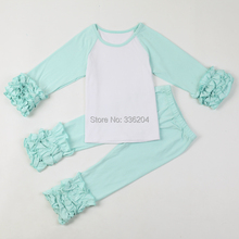children's boutique clothing long hem t-shirt icing ruffle shirt Ruffle Sleeved Raglan pants set