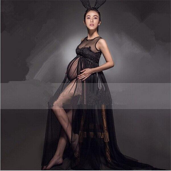 Transperant Black Maternity Long lace Dresses Pregnant Photography Props Fancy Pregnancy Summer Style Beach Dress Fancy Clothes<br>