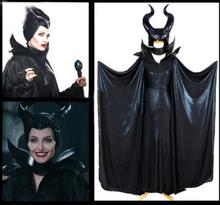 Maleficent Black Cosplay Costume Angelina Withch Full Horns outfit party lolita dress jumpsuit cloak set