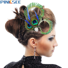 1 pc Brand Design Peacock Feather Rhinestones Wedding Hair Clip For Women Chic Dance Party Hairpin Jewelry Accessories(China)