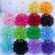 "50pcs 16colors 4"" Layered Ruffle Ranunculus Flowers Artificial Flowers Hair Accessories XFH276"