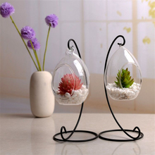 Ellipse Hanging Terrarium Glass Vase Hydroponic Ball Vase for Wedding Decoration Home Decor Accessories(China)