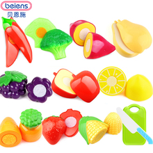 Beiens Brand Toys Cut Fruit Toy DIY 12 Pcs/Set Plastic Food Fruit Vegetable Cutting Kids Pretend Play Cook Cosplay Safety(China)