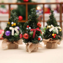 20cm Mini Christmas Tree Decor Desk Table Festival Party Ornament Xmas Decoration Gold Red Purple(China)