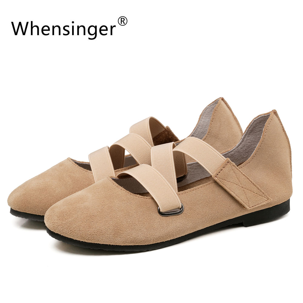 Whensinger - 2017 New Women Cow Suede Shoes Genuine Leather Flats  Autumn Style 171<br>