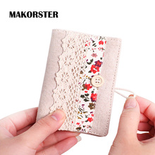 MAKORSTER Canvas Flowers Hollow id card holder visa business card holder female credit card wallet women passport cover MK119