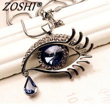 ZOSHI Fashion Choker pendants Necklace For Women Gems Blue Eyes Eyelash Tear Women Statement Necklace Wholesale Fashion Jewelry(China)