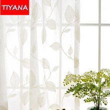 Pink Embroidered Leaf Pattern Sheer Curtains For Living Room Blue White Tulle Voile Knitted Curtains For Bedroom Window WP012&20