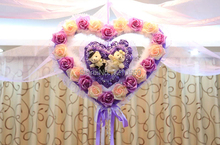 Purple Double Love Heart Double Bear Wedding Flower Ball+20 meters Organza+5 Pieces Pothooks for Wedding House Decoration(China)