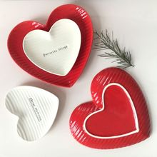 ceramic red/white heart plate dish breakfast plate cake dessert dish snack glaze dish decorations ornaments(China)