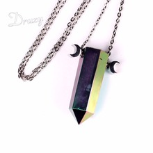 Druzy New Arrival Natural Titanium Quartz Stone Rock Crystal Point Pendant Necklace Stainless Steel Chain Necklace for Men Women