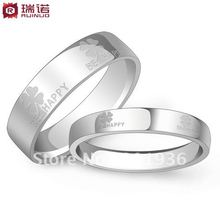 Free shipping Silver jewelry lovers ring Lucky clover finger ring 925 pure silver lovers pair rings Luck/Hope/Love/Faith