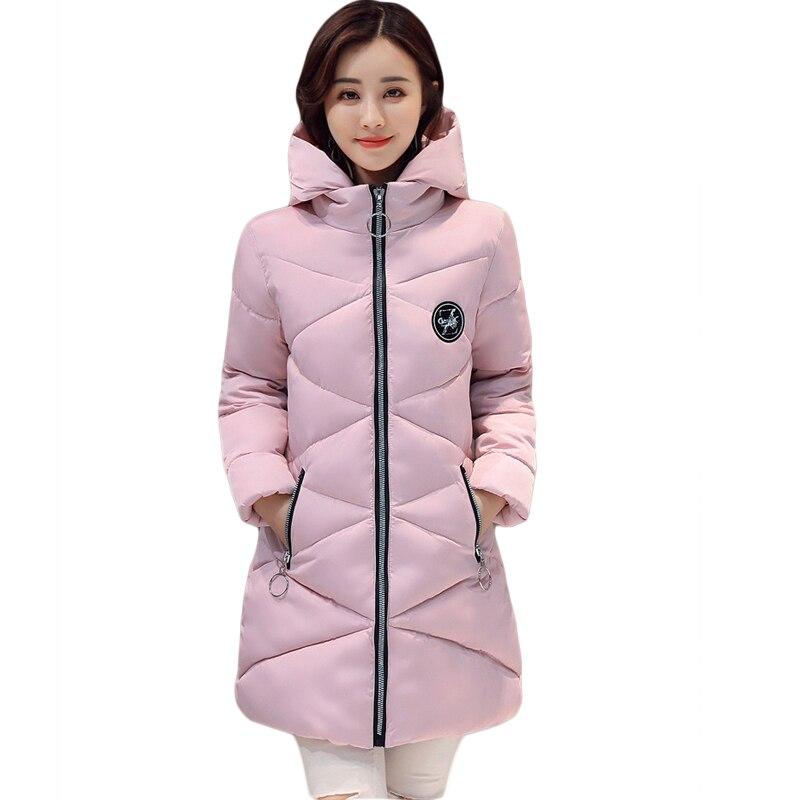 New 2017 Winter Cotton Coat Women Slim Outwear Medium-long Padded Jacket Thick Hooded Wadded Warm Cotton Parkas Plus Size CM1746Îäåæäà è àêñåññóàðû<br><br>