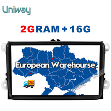Uniway 2G+16G 2 din android car dvd for vw passat b5 b6 golf 4 5 tiguan polo skoda octavia rapid fabia multimedia gps player