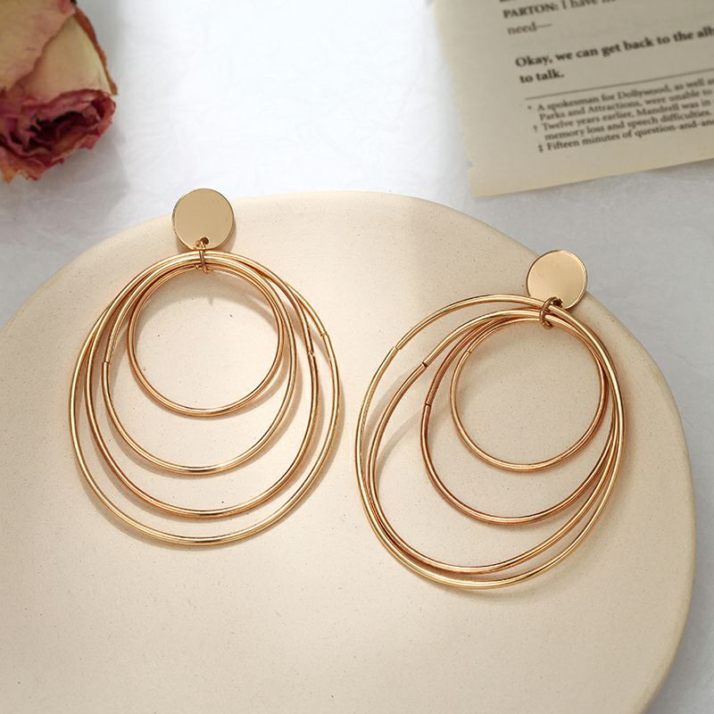 European and American style Earrings for Woman 19 Big Four Layers Ring Earrings Gold color Gifts for Friends Confidante 5