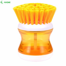 1 Piece Kitchen Cleaning Brush Plastic With Detergent Liquid Container Wash Dish Bowl Pot Scrubber Cleaning Tools
