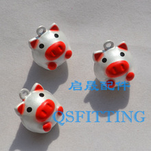 10pcs Jewelry Department Cartoon Pig Silver Color Jingle Bells Copper Cell Phone Pendant Decoration