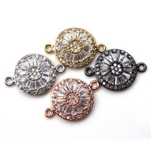 1pc 16*7mm Fashion Crystal Flower Bracelet Connector Gold Silver Black Copper Charms Pendant Handmade Jewelry Components(China)