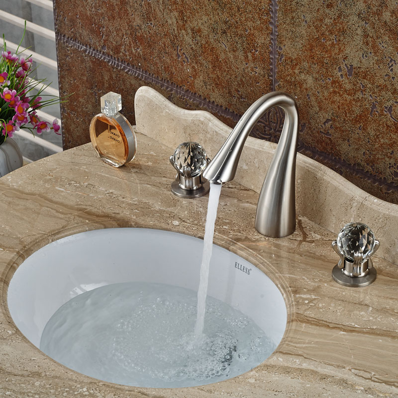 Good Quality Basin Sink Faucet Dual Handle Widespread Mixers Tap Brushed Nickel Cristal Handles<br><br>Aliexpress