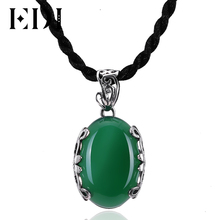 EDI 925 Sterling Silver Jewelry Pendant Necklace Vintage Green Chalcedony Jade emerald pendant Necklace For Women(China)