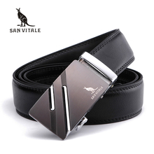 SAN VITALE Men's Belts Genuine Leather Luxury Designer Strap Male Belt for Man Automatic Buckle Jeans Cintos Masculinos Ceinture(China)