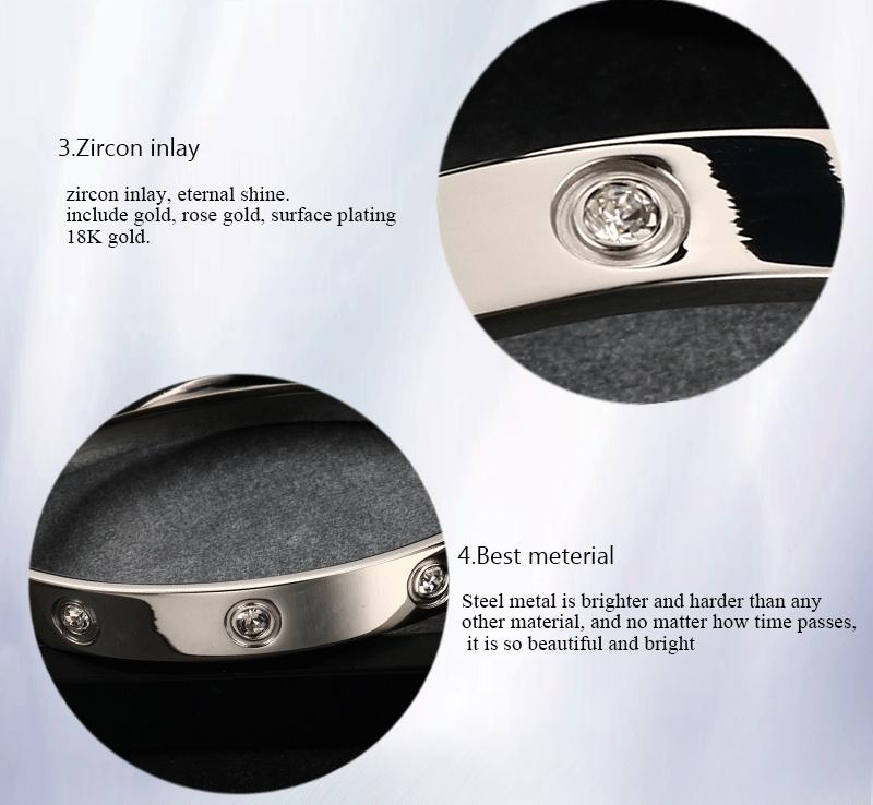 Trendy Rose Gold Love Bracelets Bangles Women Gold Color Stainless Steel Charming CZ Cuff Bracelet Lovers Luxury Brand Jewellery 5