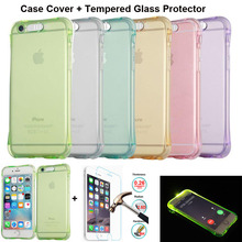 "XSKEMP Shockproof Cover For Apple iPhone 5 5S SE 6 6S 7 Plus 5.5"" 4.7"" Inch Latest Flash TPU Phone Case With 9H Screen Protector"