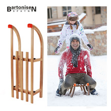 Hot Sale Winter Snow Wood Sled Foldable Snow Sleds Snowboard With Beech sleigh for snow skiing board XQ24
