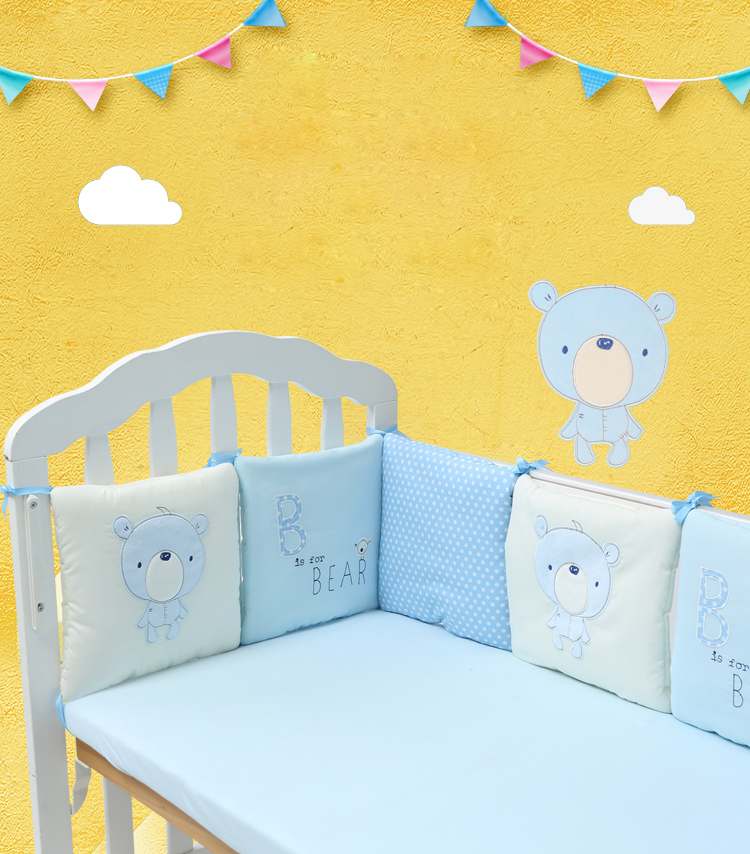Blue-Crib-Bumper-Baby-Bumpers-Bed-Protector-Breathable-Cot-Protection-Baby-Bed-Cushion-for-Infant 30cmx30cmx6pcs-for-Bedding-Set