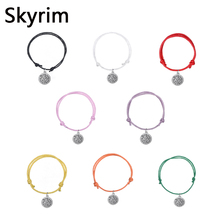 Skyrim 10pcs/lot Adjustable Bracelets Eight Colors Fashion Korea Wax Cord Bracelet With Christian Cross Image Charms Fit Gifts(China)
