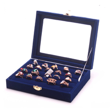 High Quality Blue Color Ring Gift Box Ring Many Holes Ring Set Box Display Collection Jewelry Organizer Box For Showcase