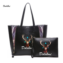 DuoLaiMi 2017 Goat Women Big Tote Black Leather Bag European American Style Casual Tote Women Shopping Shoulder Bag Buy 1 Get 2