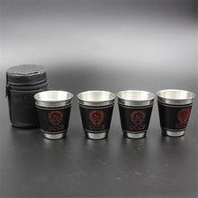 4pcs/lot 70ml Travel Cups Set Stainless Steel Cups Wine Beer Whiskey Mugs Outdoor Camping Tableware Black PU Leather