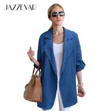 JAZZEVAR new summer high fashion street Women's Fashion Jacket comfortable linen casual jackets Medium-long loose clothing